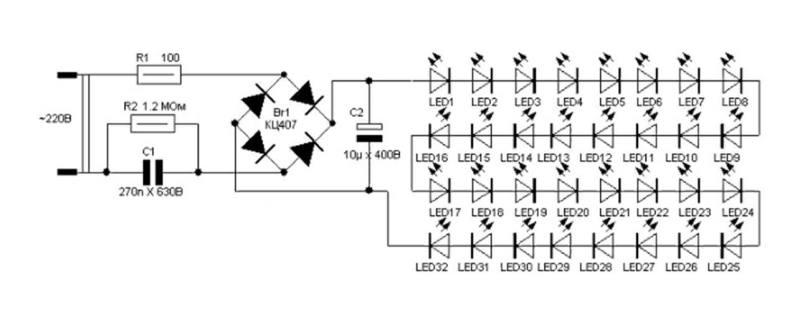 схема китайской лампочки