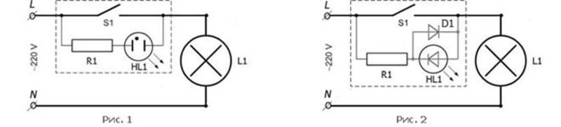 Электрические схемы выключателей с подсветкой неоновой индикаторной лампочкой – на рис. 1 и светодиодом-индикатором – на рис. 2.