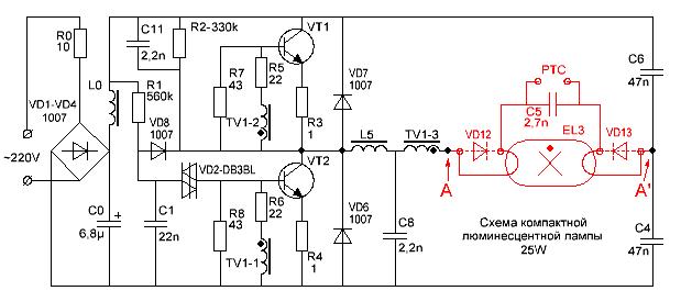 Принципиальная схема люминесцентной лампы