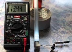 Проверка осветительного прибора мультиметром