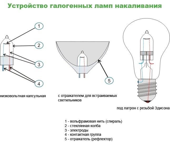 Рис.7 – устройство галогенной лампы.
