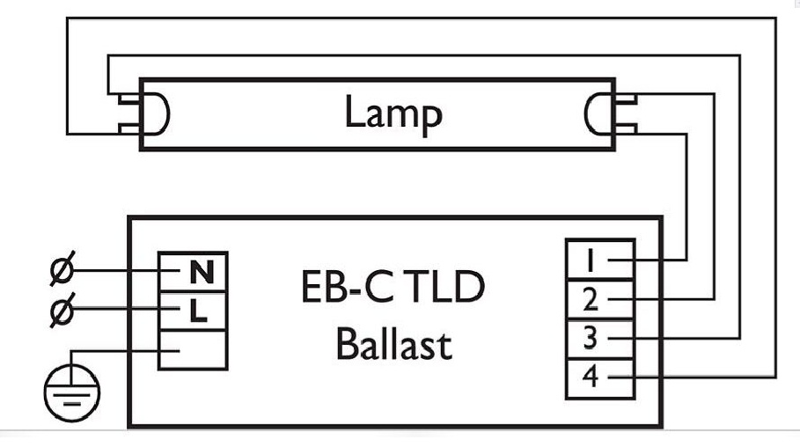 Схема подключения одной лампы к ЭПРА