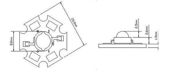 Габаритный чертеж мощного планарного светодиода