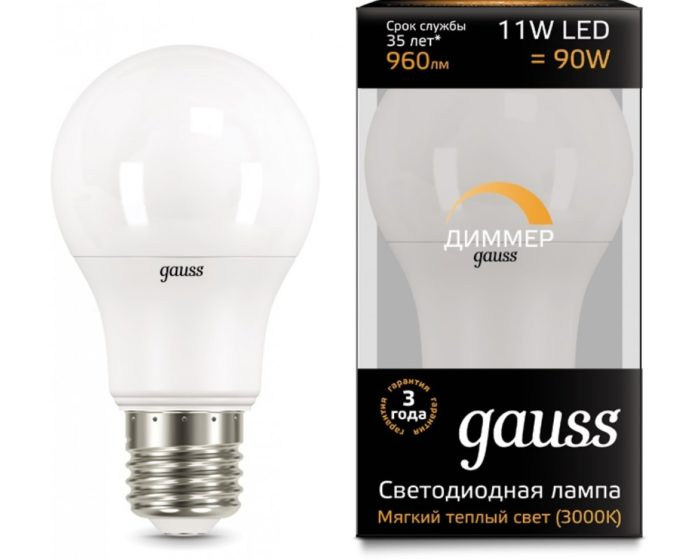 Gauss 102502211-D E27 A60 11Вт