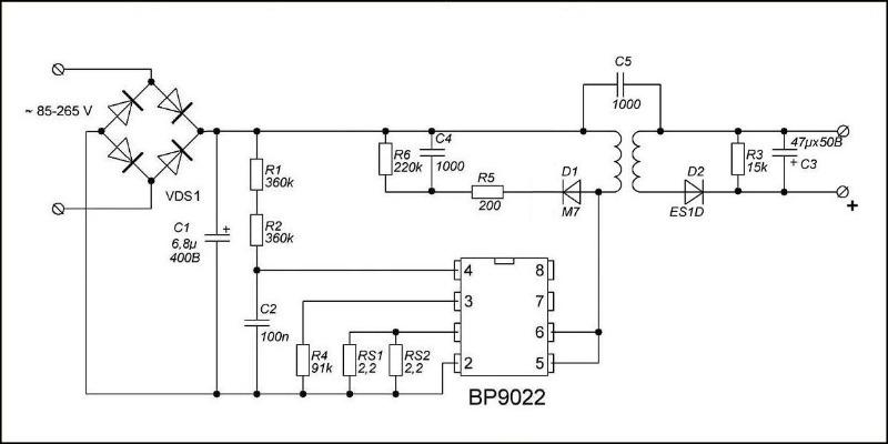 Схема драйвера светодиодной лампы