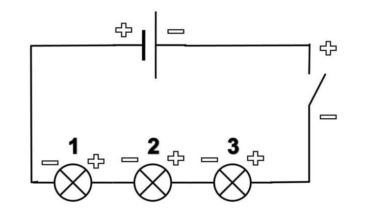 Последовательная схема подключения лампы.