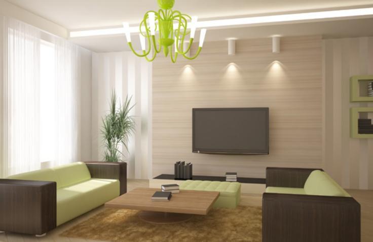 Пример комбинирования светильников в современном интерьере.