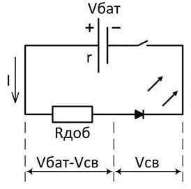 Схема включения токоограничивающего резистора.