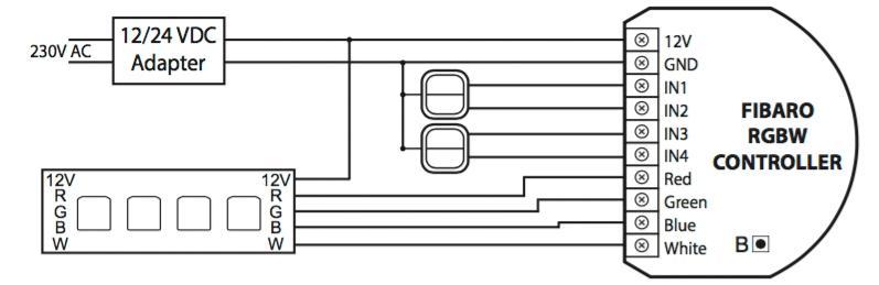 Схема для RGBW-варианта с дополнительным контактом.