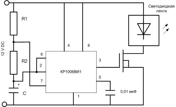 Схема генератора импульсов на КР1006ВИ1.