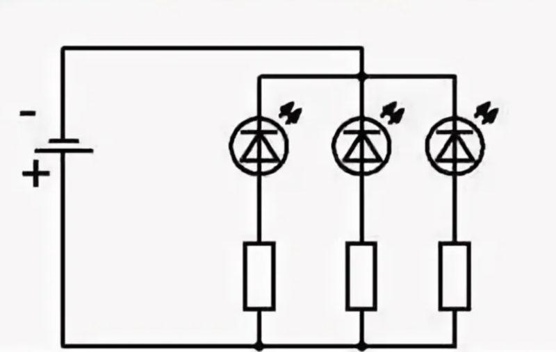 Схема параллельного подключения светодиодов. Каждый светодиод правильно соединять последовательно