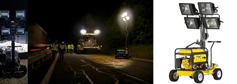 Освещение рабочих зон, строительных площадок. В отдаленных районах используются комплексы с генератором или аккумуляторами повышенной емкости.