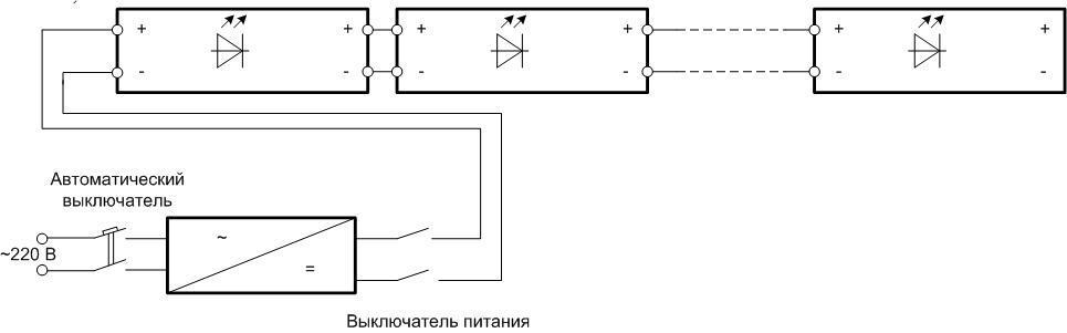 Схема подключения коротких отрезков LED-полотна.