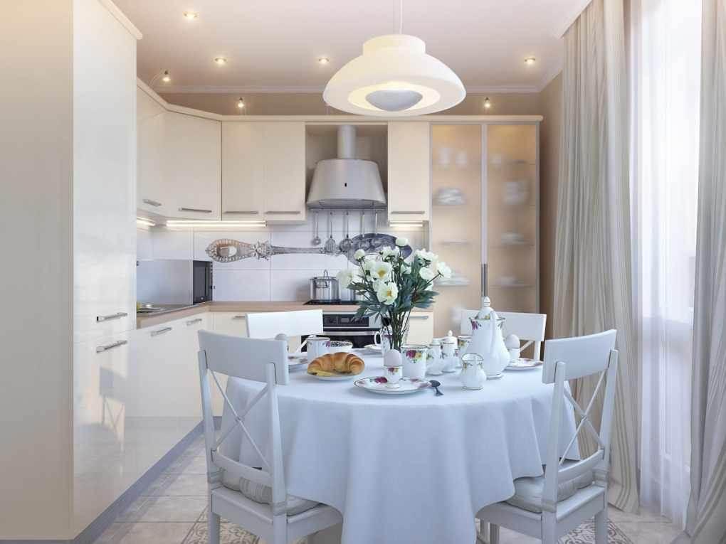 Лампа в самом центре маленькой кухни.