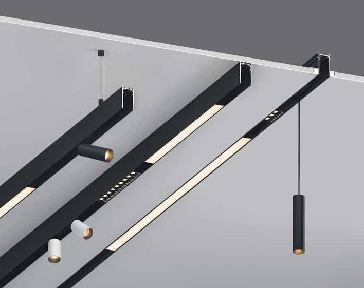 Установка трековых светильников в натяжной потолок
