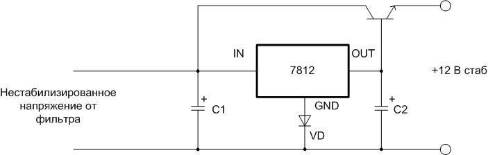 Внешний транзистор p-n-p.