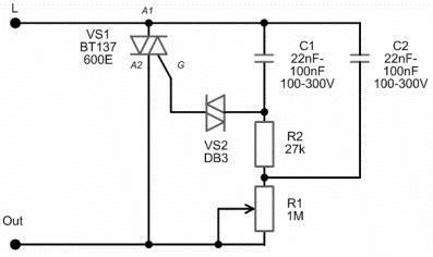 Схема светорегулятора на 220 В.