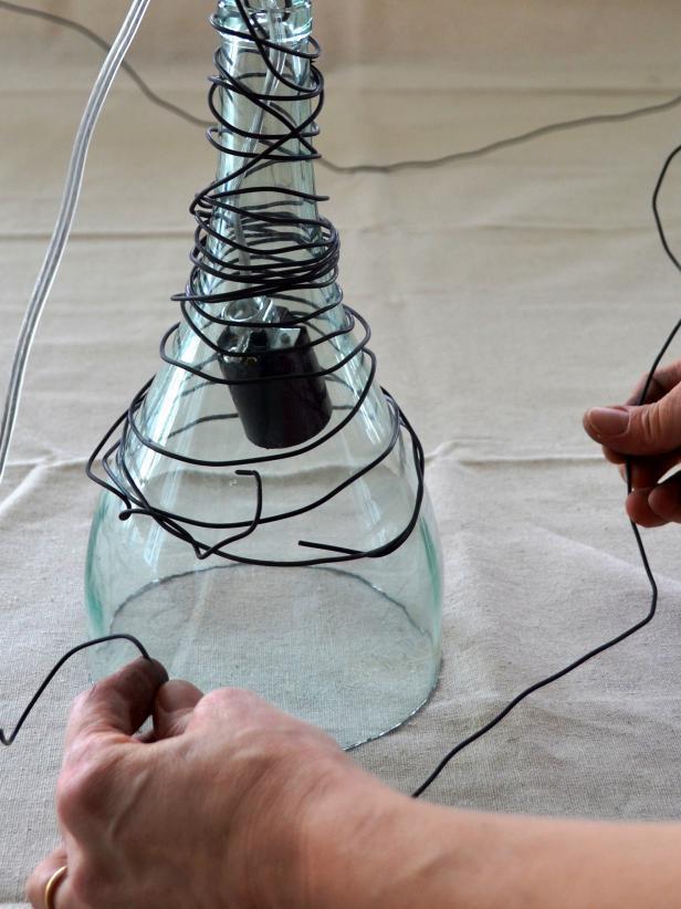 декорируем светильник избутылки