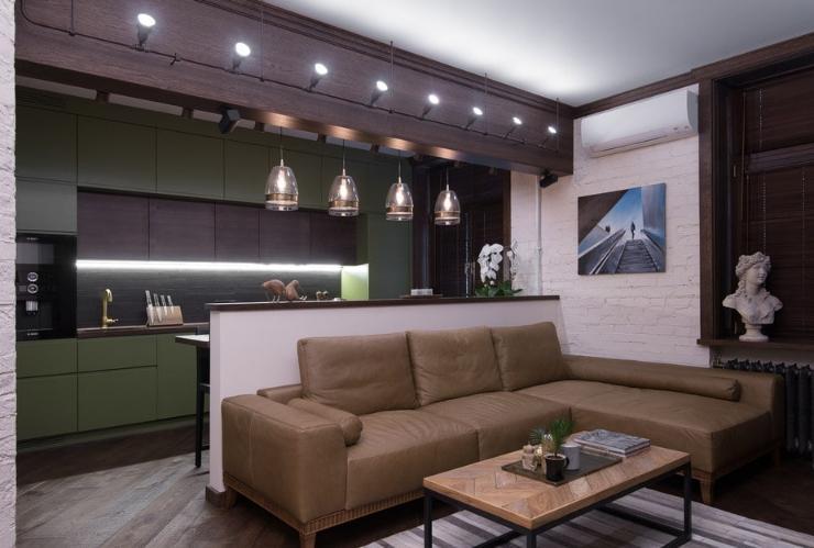 Освещение кухни-гостиной в современном стиле