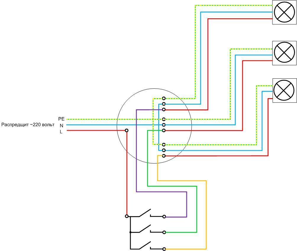 Как подключить лампочку через выключатель — схемы