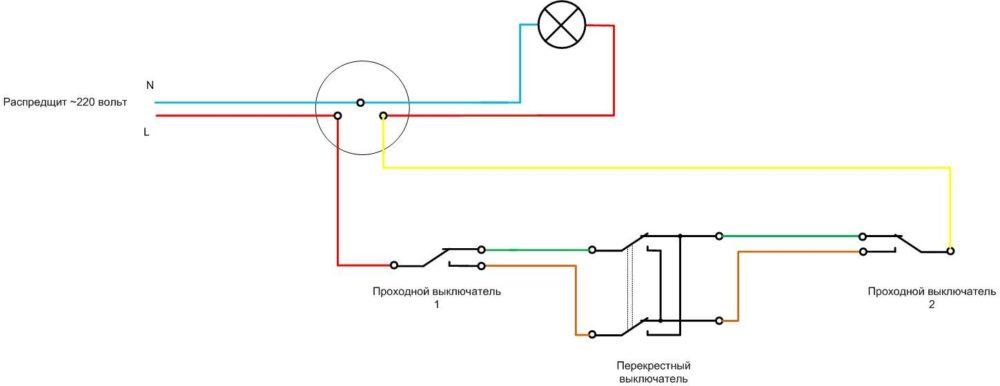 Порядок подключения импульсного выключателя света